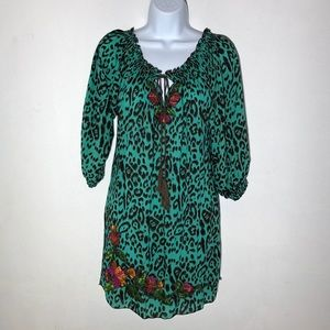 Krista Lee Embroidered Smocked Leopard Print Dress